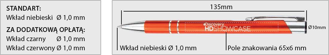 wymiar długopisu reklamowego Cosmo