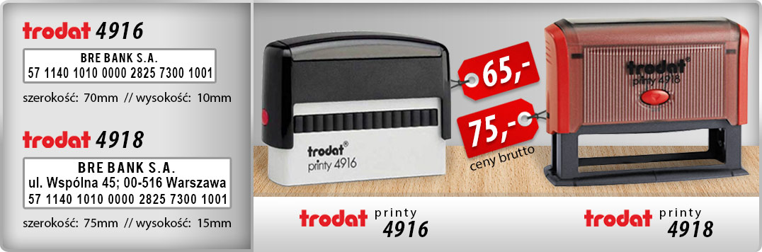 Trodat Printy 4916 - 65zł, Trodat Printy 4918 - 75zł